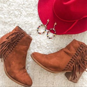 MAURICES SUEDE BROWN FRINGE HEELED BOOTIES
